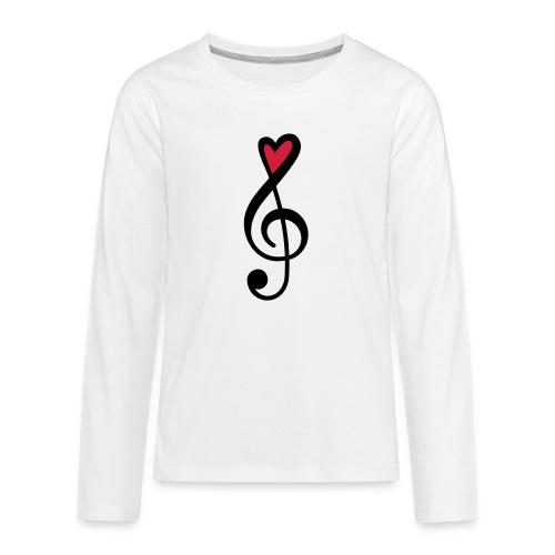 Notenschlüssel Herz rot Musik - Teenager Premium Langarmshirt