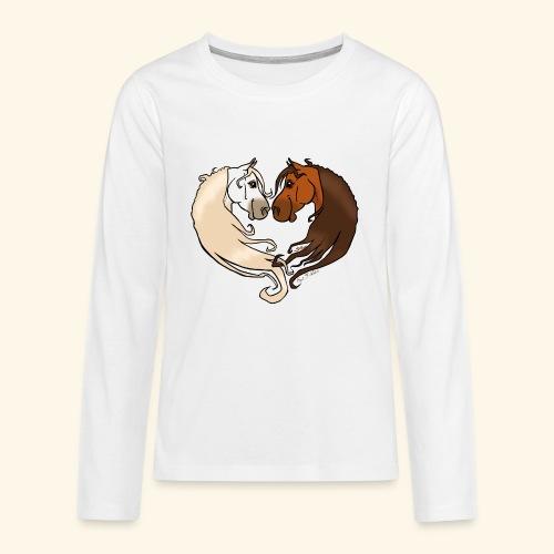Chevaux amoureux bai-gris - T-shirt manches longues Premium Ado
