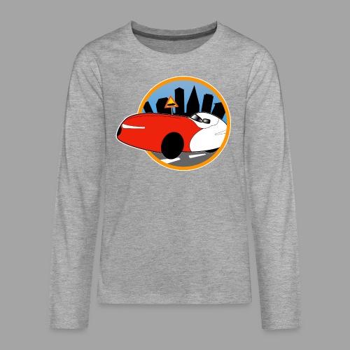 Velomobile-skyline - Teinien premium pitkähihainen t-paita