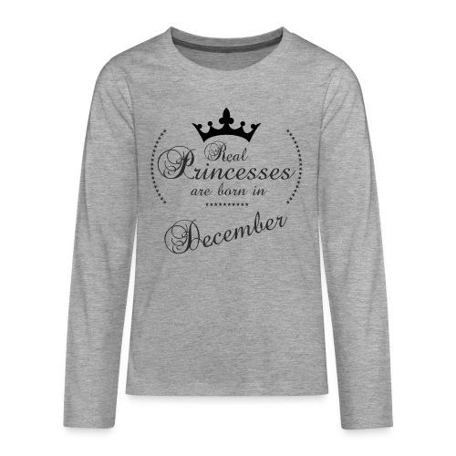 Real Princesses black December - Teenager Premium Langarmshirt