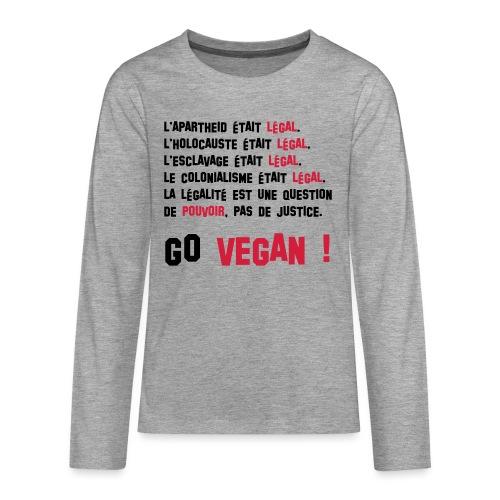 GO VEGAN - T-shirt manches longues Premium Ado