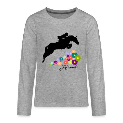 KONIE skoki just jump it - Koszulka Premium z długim rękawem dla nastolatków