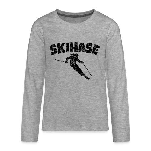 Skihase (Vintage/Schwarz) Ski Skifahrerin - Teenager Premium Langarmshirt