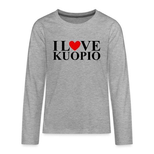 I LOVE KUOPIO (koko teksti, musta) - Teinien premium pitkähihainen t-paita