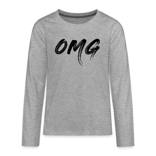 OMG, musta - Teinien premium pitkähihainen t-paita