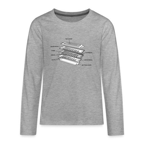 Exploded harmonica - black text - Teenagers' Premium Longsleeve Shirt