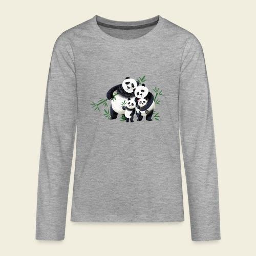 Pandafamilie zwei Kinder - Teenager Premium Langarmshirt