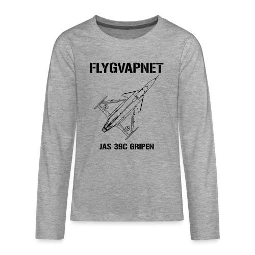 FLYGVAPNET - JAS 39C - Långärmad premium T-shirt tonåring