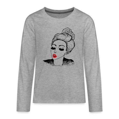 Vintage Retro Girl Kiss message - Teenagers' Premium Longsleeve Shirt