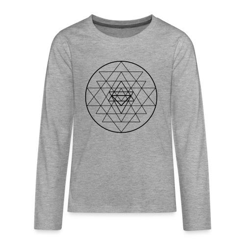 Sri Yantra - black and white - Teenager premium T-shirt med lange ærmer