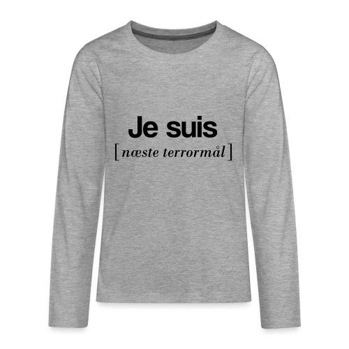 Je suis (sort skrift) - Teenager premium T-shirt med lange ærmer