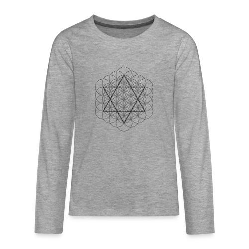 Flower of life and David Star - Teenager premium T-shirt med lange ærmer