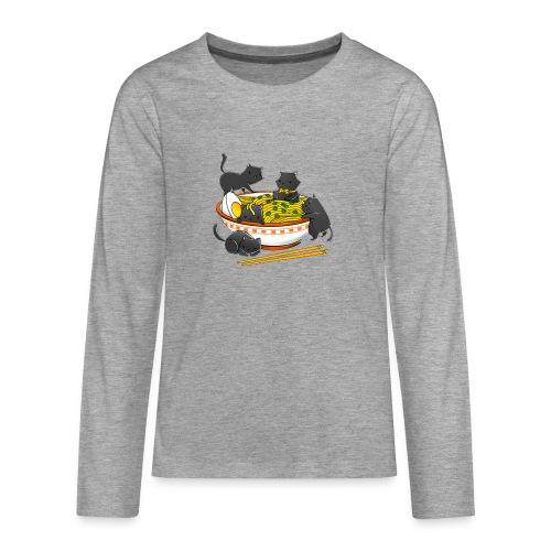 Kawaii Vintage Style Japenese Ramen Cat - Teenagers' Premium Longsleeve Shirt
