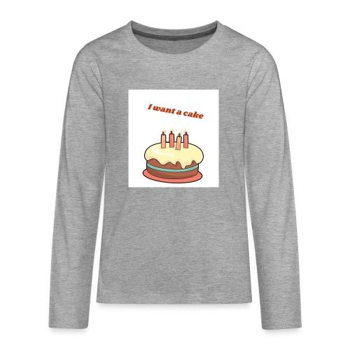 I want a cake - Långärmad premium T-shirt tonåring