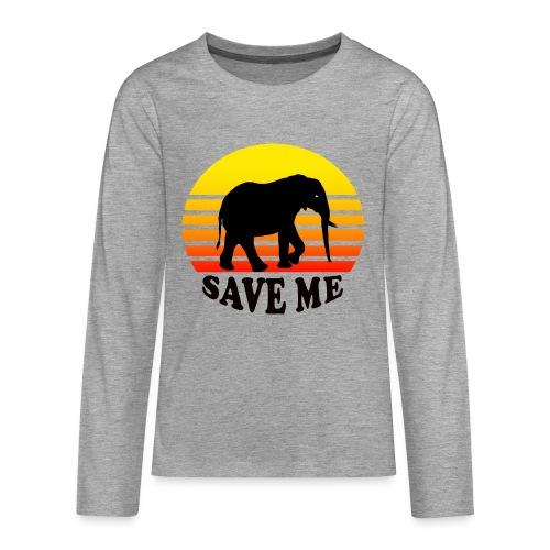 Elefant SAVE ME Schattenriss Sonne - Teenager Premium Langarmshirt