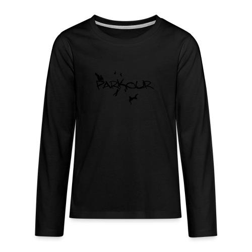 Parkour Sort - Teenager premium T-shirt med lange ærmer