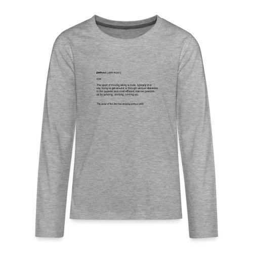 parkour dictionay - Teenager premium T-shirt med lange ærmer