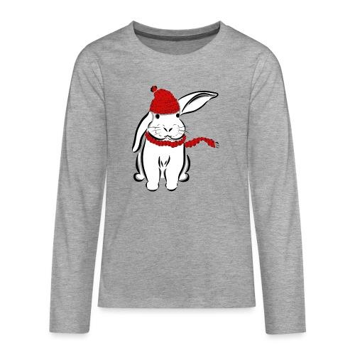 Kaninchen Hase Mütze Schal Schlappohr Schneehase - Teenager Premium Langarmshirt