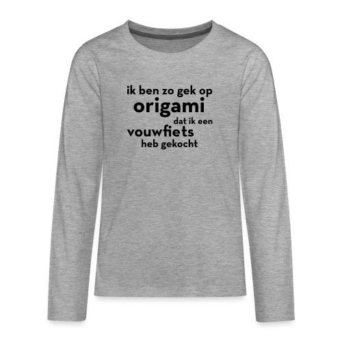 Origami - Vouwfiets - Teenager Premium shirt met lange mouwen
