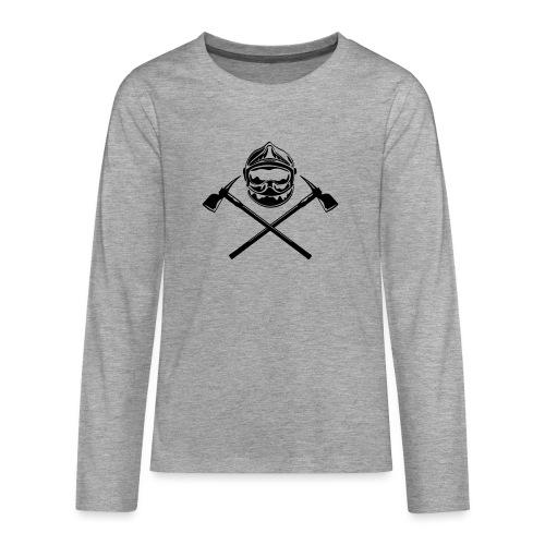 casque_pompier_deux haches - T-shirt manches longues Premium Ado