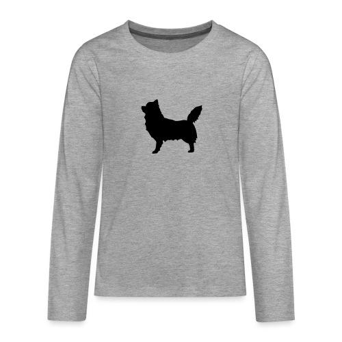 Chihuahua pitkakarva musta - Teinien premium pitkähihainen t-paita