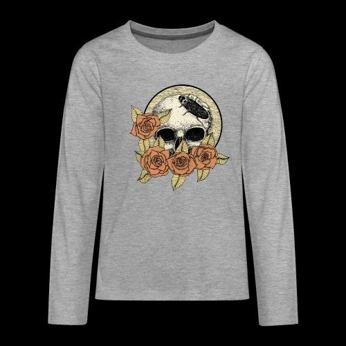 Rose et tête de mort - T-shirt manches longues Premium Ado