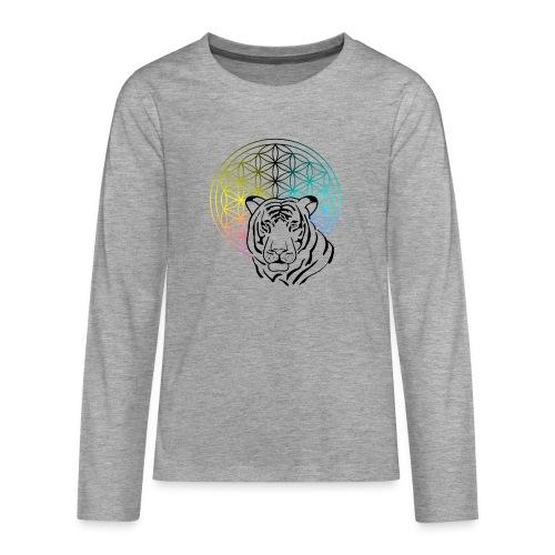 fleur de vie tigre - T-shirt manches longues Premium Ado