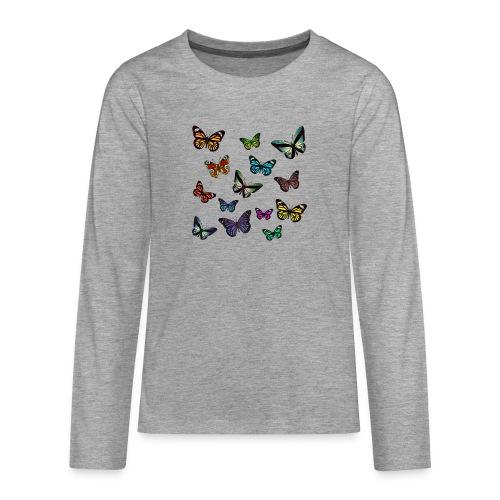 Butterflies flying - Långärmad premium T-shirt tonåring