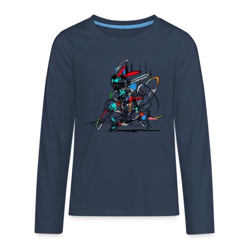 Ninja fighter Easter Bunny / Abstract - Teenagers' Premium Longsleeve Shirt
