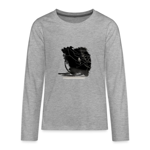 bird in zen circle above water bird on branch Zen - Teenagers' Premium Longsleeve Shirt