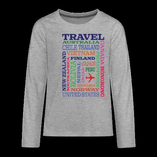 Travel Places design - Teinien premium pitkähihainen t-paita