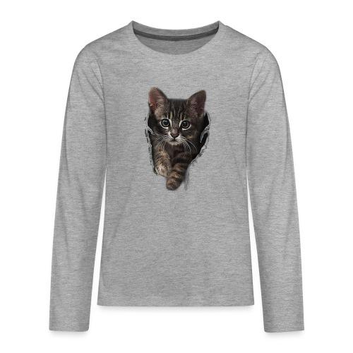 Vorschau: Katze Riss - Teenager Premium Langarmshirt