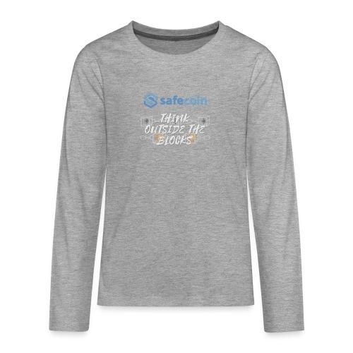 SafeCoin; Think Outside the Blocks (blue + white) - Teenagers' Premium Longsleeve Shirt