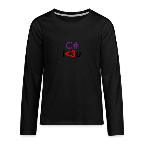 C# is love - Maglietta Premium a manica lunga per teenager