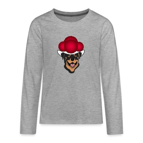 Rottweiler mit rotem Bollenhut - Teenager Premium Langarmshirt