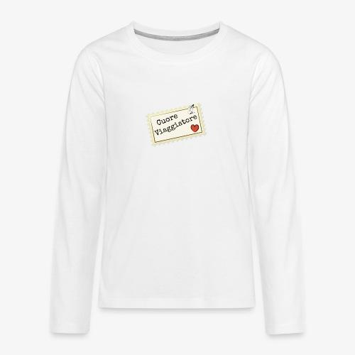 CUORE VIAGGIATORE Scritta con aeroplanino e cuore - Maglietta Premium a manica lunga per teenager