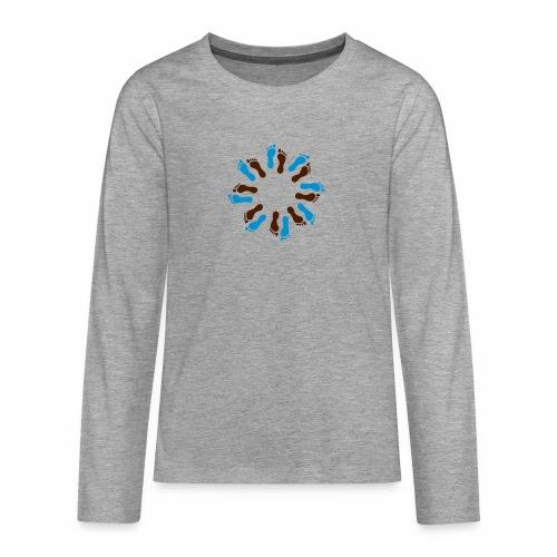 Barfuß-Kreis blau-braun - Teenager Premium Langarmshirt