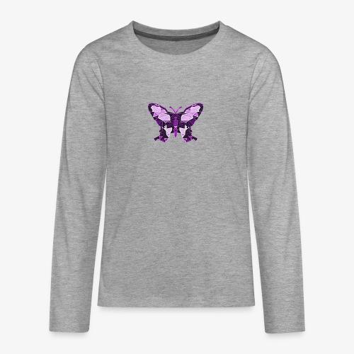 Fioletowy motyl - Koszulka Premium z długim rękawem dla nastolatków