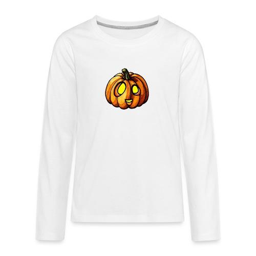 Pumpkin Halloween watercolor scribblesirii - Teinien premium pitkähihainen t-paita