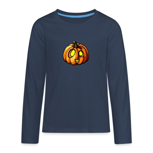 Pumpkin Halloween watercolor scribblesirii - Teenager premium T-shirt med lange ærmer