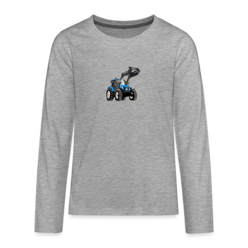 Blauer Traktor mit Frontlader - Teenager Premium Langarmshirt