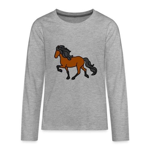 Islandpferd, Brauner, heller - Teenager Premium Langarmshirt