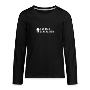 Hashtag generation logo final white - Teenagers' Premium Longsleeve Shirt
