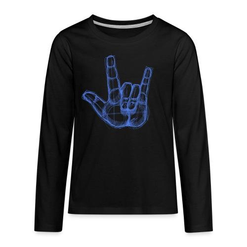 Sketchhand ILY - Teenager Premium Langarmshirt