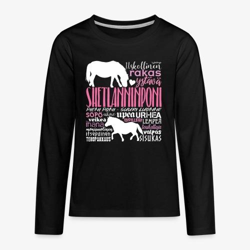Sheltti Sanat Pink - Teinien premium pitkähihainen t-paita
