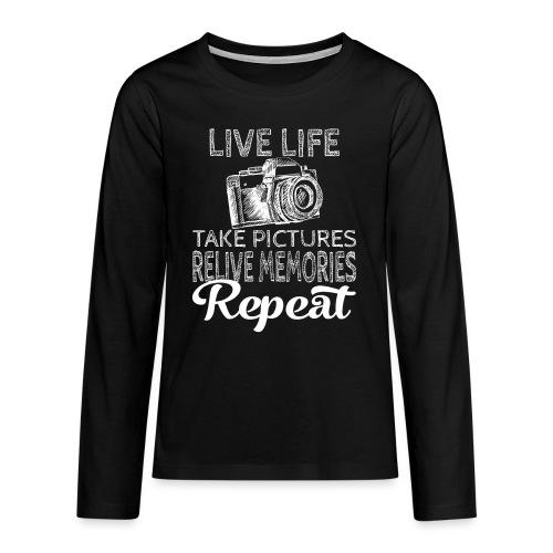 Take Pictures Skizzierter Fotoapparat Fotografie - Teenager Premium Langarmshirt