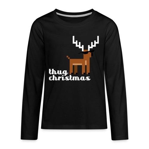 Christmas Xmas Deer Pixel Funny - Teenagers' Premium Longsleeve Shirt