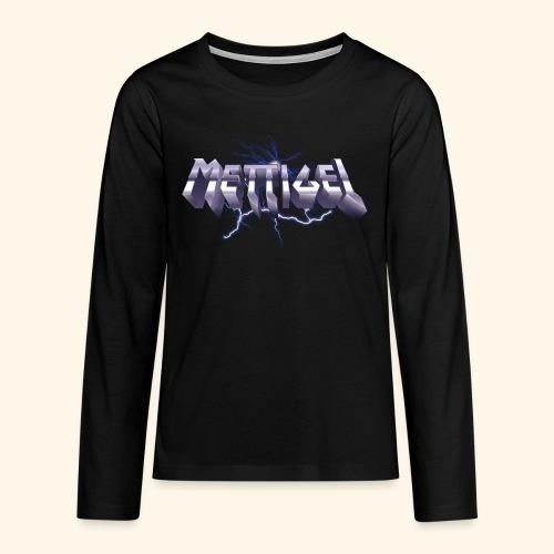 Mettigel T Shirt Design Heavy Metal Schriftzug - Teenager Premium Langarmshirt