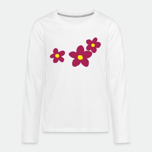Three Flowers - Teenagers' Premium Longsleeve Shirt
