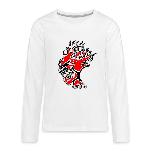 Flaming Demon Head Red - Teenagers' Premium Longsleeve Shirt